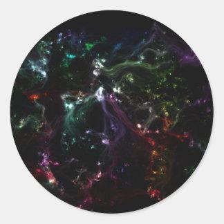 Exploded rainbow galaxy round sticker