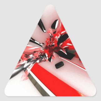 EXPLODING CANDYCANES RED WHITE RANDOM ABSTRACT ART TRIANGLE STICKER
