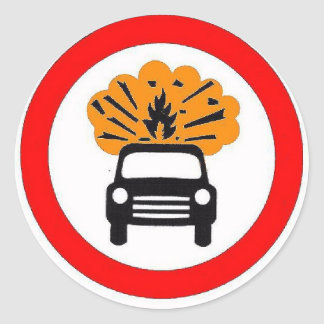 Exploding Car Carrier Road Sign Magnet Stickers