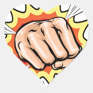 Exploding Cartoon Fist Heart Sticker