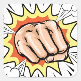 Exploding Cartoon Fist Square Sticker