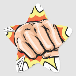 Exploding Cartoon Fist Star Sticker