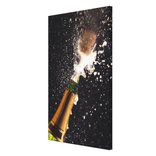 Exploding champagne bottle stretched canvas print