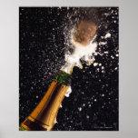 Exploding champagne bottle poster