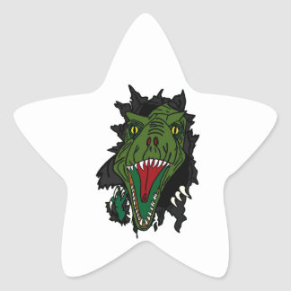 Exploding Dinosaur Star Sticker
