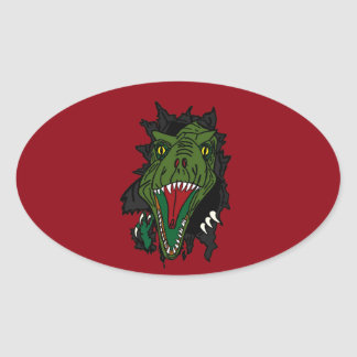Exploding Dinosaur With Red Background Oval Sticker