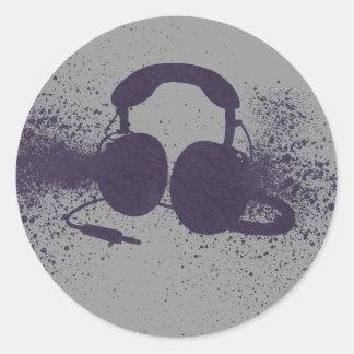 Exploding Headphones Round Sticker