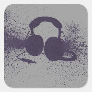 Exploding Headphones Square Sticker