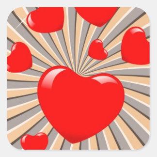 Exploding Hearts Square Sticker