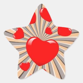 Exploding Hearts Star Sticker
