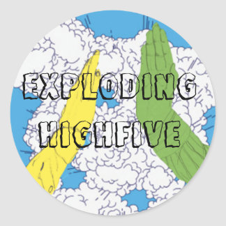 Exploding High Five! Round Sticker