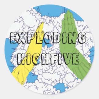 Exploding High Five! Round Sticker