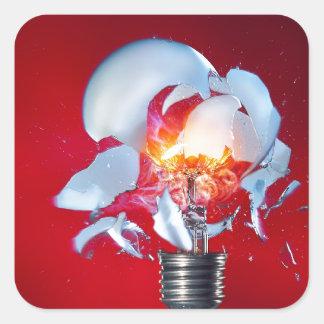 Exploding Lightbulb Square Sticker