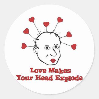 Exploding Love Head Round Sticker