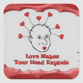 Exploding Love Head Square Sticker