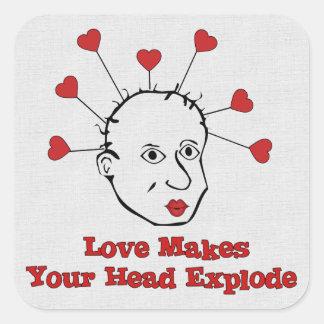 Exploding Love Head Square Sticker