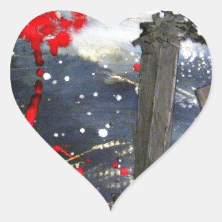 Exploding matchsticks heart sticker
