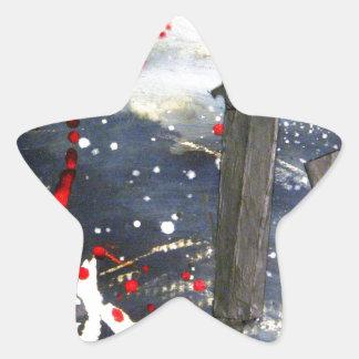 Exploding matchsticks star sticker