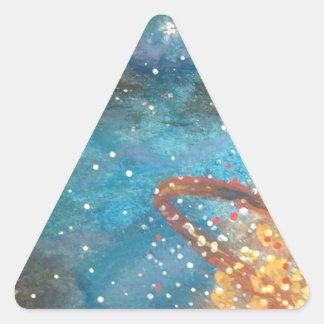 Exploding Planet Triangle Sticker