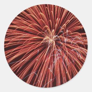 Exploding Red Fireworks Round Sticker