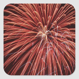 Exploding Red Fireworks Square Stickers