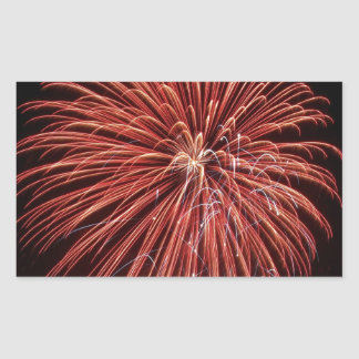 Exploding Red Fireworks Rectangle Stickers