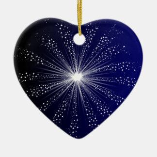 Exploding Sky Rocket Ceramic Heart Decoration