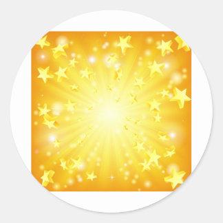 Exploding stars background round sticker