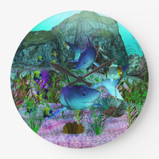 Exploration 3D Sharks Large Clock
