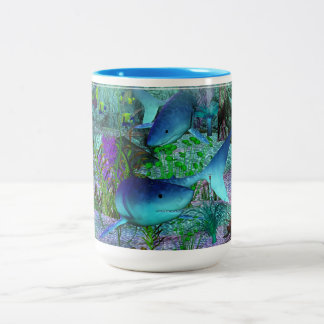 Exploration 3D Sharks Two-Tone Coffee Mug