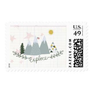 Explore America patriotic postage summer stamp