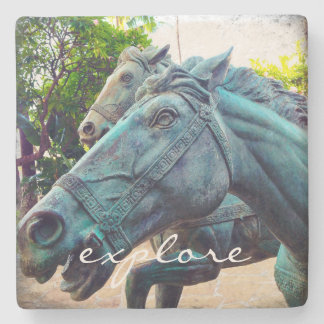 """Explore"" blue horse statue photo stone coaster"