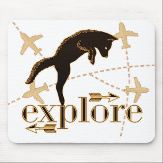 Explore Brown Pouncing Fox Adventure Theme Mouse Mat