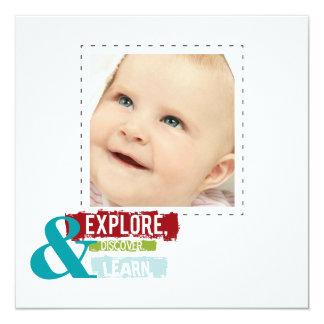 """""""explore discover learn""""  square photo cards 13 cm x 13 cm square invitation card"""
