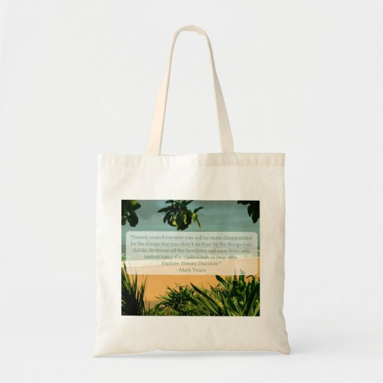 Explore Dream Discover Mark Twain Quote Tote Bag