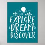 Explore Dream Discover Travel Quotes Poster