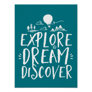 Explore Dream Discover Travel Quotes Poster