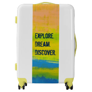 Explore. Dream. Discover. Yellow Abstract Art Luggage