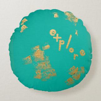 Explore in Aqua and Gold Round Cushion