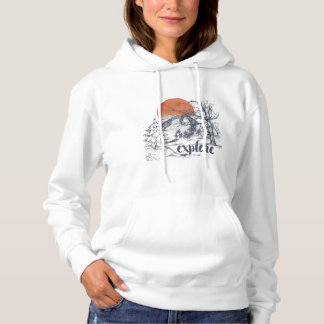 Explore Mountain Forest Trees Wilderness Hoodie