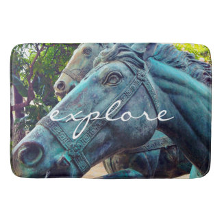 """Explore"" Quote Asian Turquoise Horse Statue Photo Bath Mat"