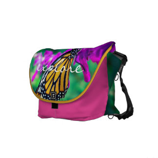 """Explore"" Quote Orange Monarch Butterfly Photo Messenger Bags"