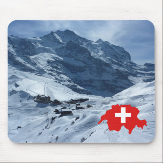 Explore Switzerland, Swiss scene, map with flag Mouse Mat