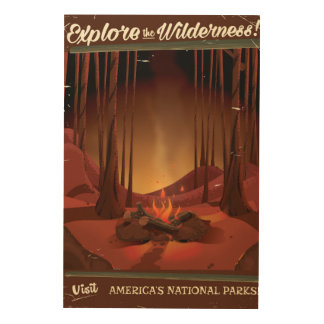 Explore the wilderness! Camp fire poster Wood Canvases