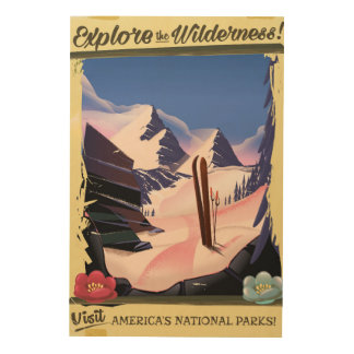 Explore the Wilderness! ski poster Wood Prints