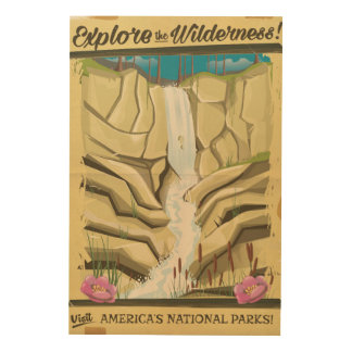 Explore the Wildness vintage poster! Wood Print
