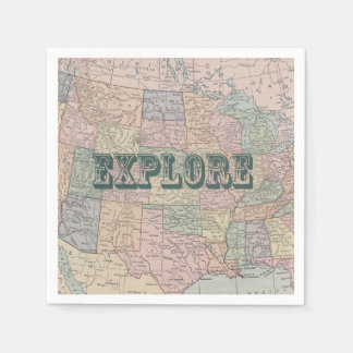 Explore Travel Quote Napkin Disposable Napkins