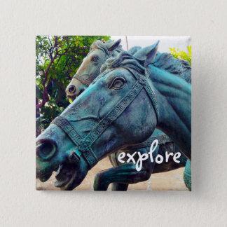 """""""Explore"""" turquoise blue Asian horse statue photo 15 Cm Square Badge"""