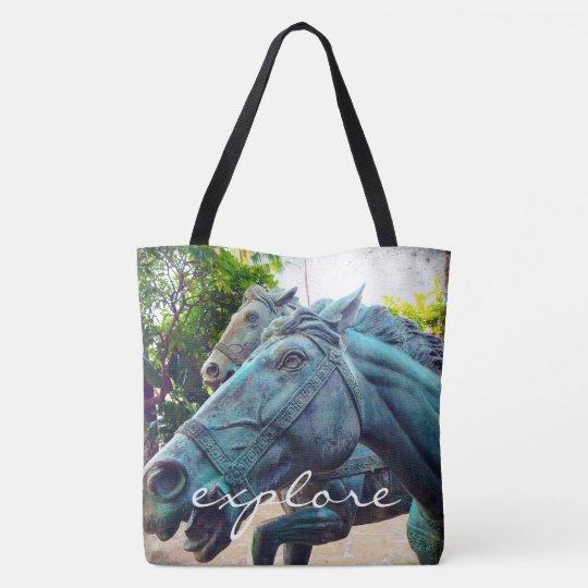 """Explore"" turquoise horse statue photo tote bag"