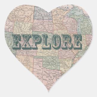 Explore - Vintage map quotes Heart Sticker